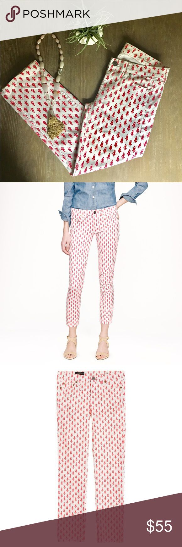 J Crew Cropped Matchstick Jeans Floral Thistle 27 J Crew Cropped Matchstick Jeans Floral Thistle Size 27 - White Jeans with Pink/Red Floral Design. Excellent Condition inseam 25 J. Crew Jeans Ankle & Cropped