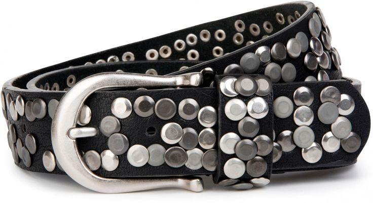 styleBREAKER Nieten Gürtel im Vintage Style mit echtem Leder, Nietengürtel kürzbar, Damen 03010008 Gürtel      115