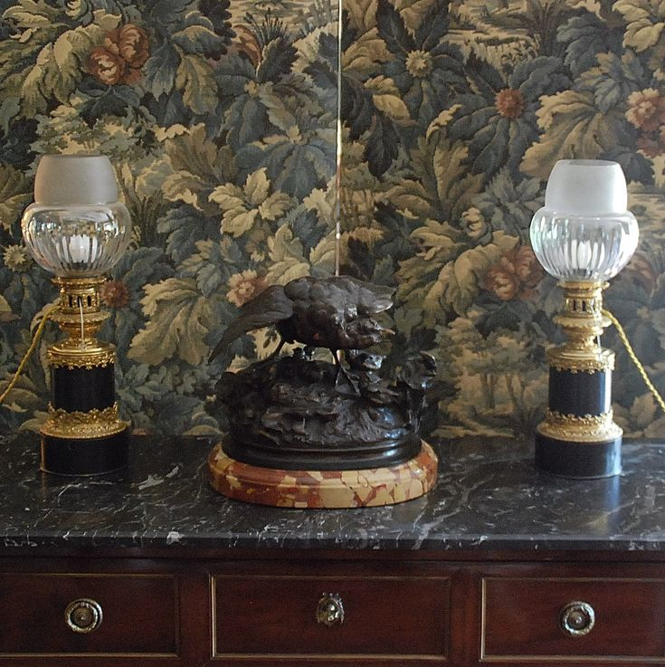 Pair Of Gilt Bronze Lamps And Patinated Brass Carcel Le Marchand De Hasard Proantic Bronze Lamp Oil Lamps Lamp