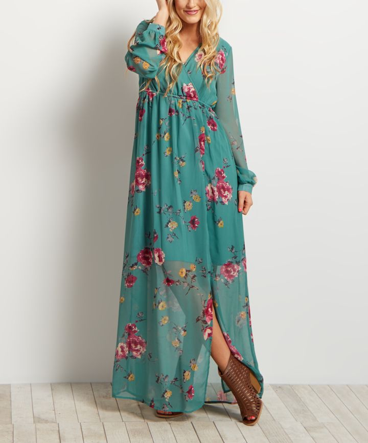 Mint Green Floral Chiffon Maxi Dress