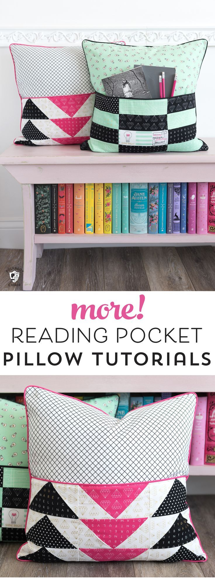 Caitlyn's Room...reading pillows with pockets....book shelf bench