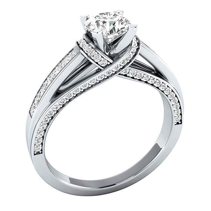 1 33 Cttw White Cubic Zirconia 10k White Gold Wedding Engagement Ring Review Wedding Ring 14k White Gold Wedding Anniversary Rings Wedding Rings Engagement