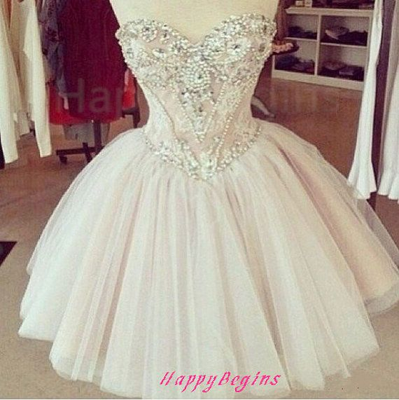 Light pink beaded short prom dress/ ball gown short by HappyBegins, $149.00