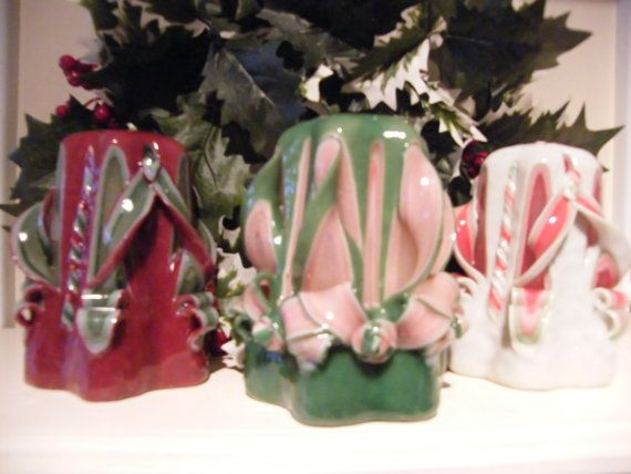 Hnad Carved Mini Christmas Candles by artofcandles on Etsy, £8.99