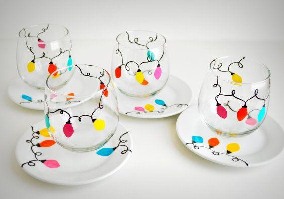 Festive Retro Christmas Lights Stemless Wine Glasses and Appetizer Plates by MaryElizabethArts.com Happy Holiday Entertaining!