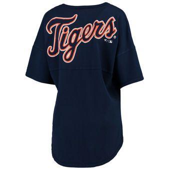 Women's Detroit Tigers Navy Oversized Spirit Jersey V-Neck T-Shirt
