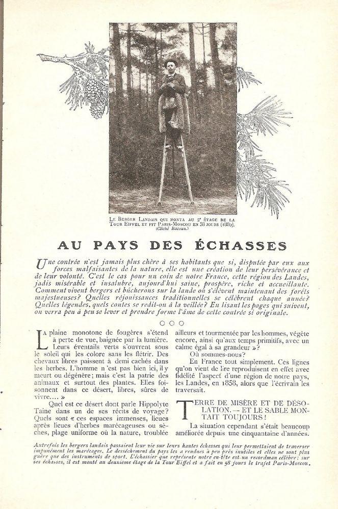 Au Pays des échasses - - Les Landes France Région - Coupure de Presse (1908)