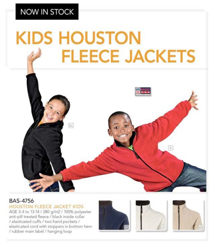 We'd like to introduce our new Houston Fleece Jacket for kids, now in stock.  BAS-4756 – Houston Fleece Jacket - KIDS  Great item for schools, sports teams, children's extra mural activities & youth clubs.   For more information about this item or about our School's Fundraising Project please contact Bianca via pact@live.co.za or the wall or inbox of this page: pact - Brand Solutions