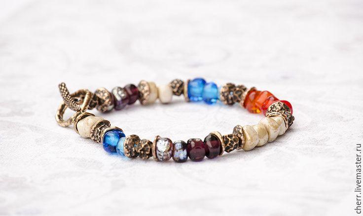 Купить Осенний карнавал - браслет лэмпворк - разноцветный, алый, голубой, бронза, браслет, лэмпворк