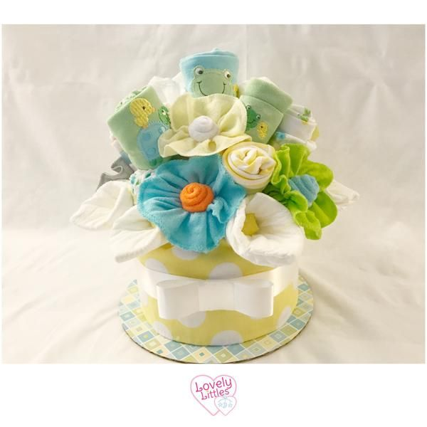 Gender Neutral Baby Shower Centerpiece Diaper Cake with Frogs, Turtles – Lovely Littles LLC