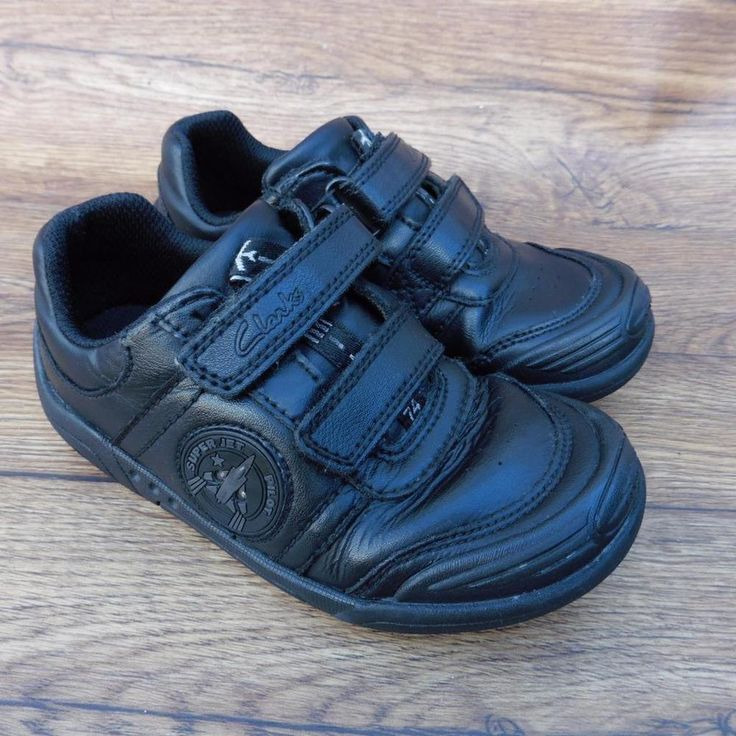SIZE UK 9.5 G CLARKS WING SMART BLACK LEATHER BOYS SCHOOL SHOES VELCRO FASTENING