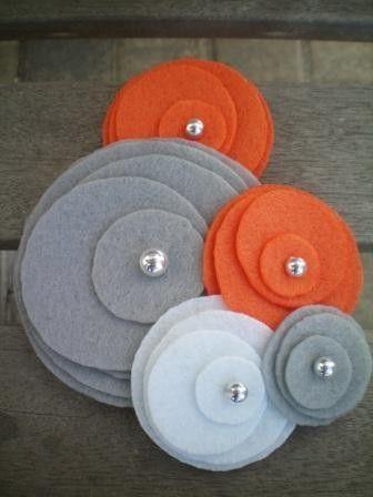 Flower Pin...brooch...felt...corsage...Five Flower Cluster Pin (orange, grey…