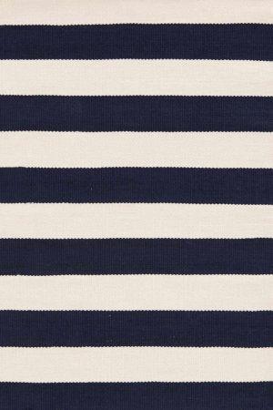 RugStudio presents Dash And Albert Catamaran Stripe Navy/Ivory Woven Area Rug