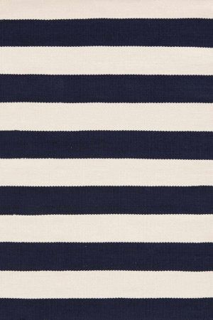 RugStudio presents Dash And Albert Catamaran Stripe Navy/Ivory Woven Area Rug