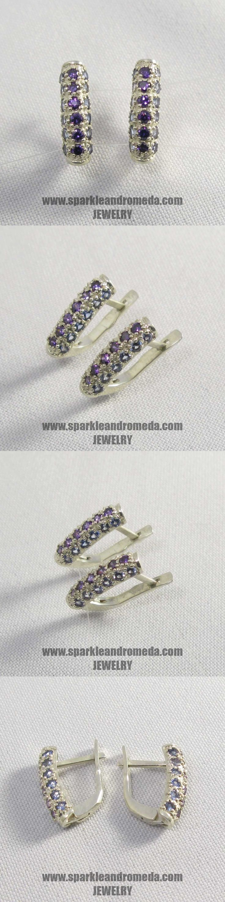 Sterling 925 silver earrings with 36 round 2 mm violet amethyst color and blue aquamarine color cubic zirconia gemstones.