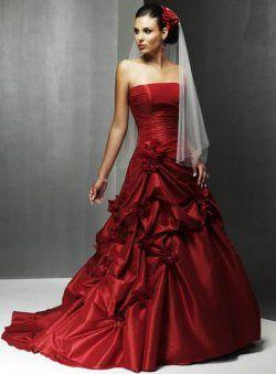 rouge sans bretelles de fleurs plissés des robes de mariée de couleur