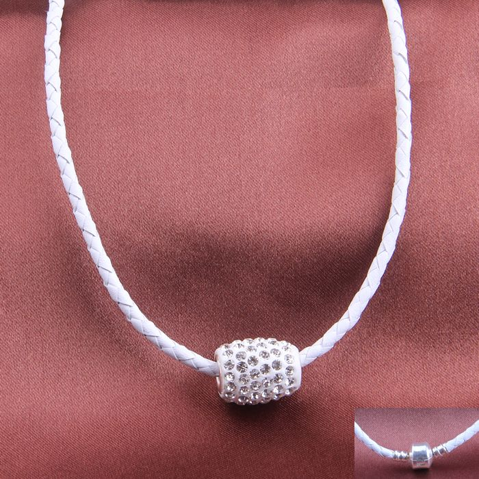 Find More Choker Necklaces Information about Hot New Fashion Jewelry White Braided Leather Sheepskin Chain Crystal Charm Rhinestone Chokers Necklace Wholesale Free Shipping,High Quality necklace cabochon,China charm bracelet white gold Suppliers, Cheap necklace charms for men from NIBA Jewelry  on Aliexpress.com