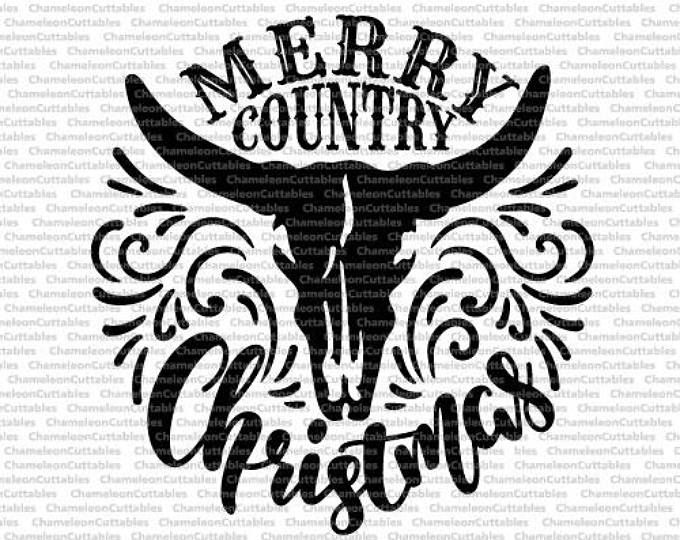 Merry Country Christmas With Bull File Svg Vector Cow