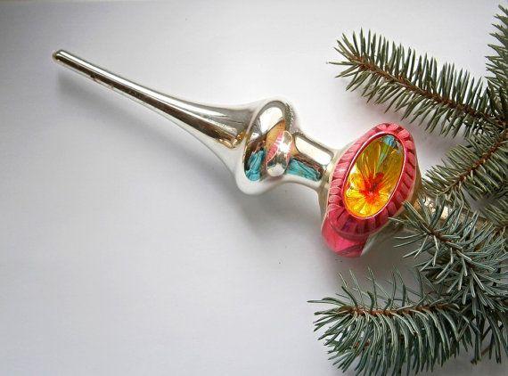 Tip op de kerstboom, Kerstmis glazen ornament, antieke kerst ornament, Vintage Sovjet-jaren 1960-Kerst/Nieuwjaar, Christmas decor