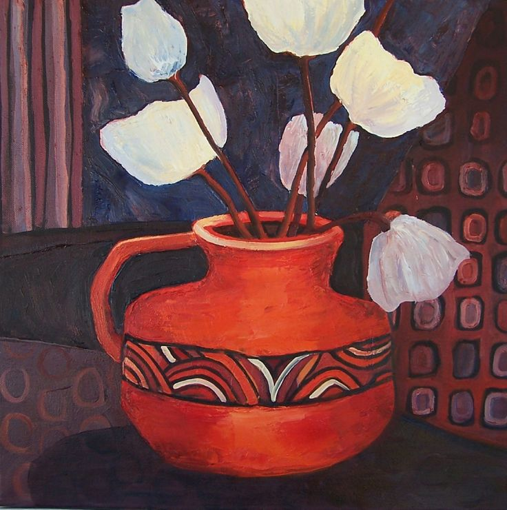 Overblown is a delightful still life by Glynis Morrison - see more of her beautiful work at http://www.artinvesta.com/artist/159
