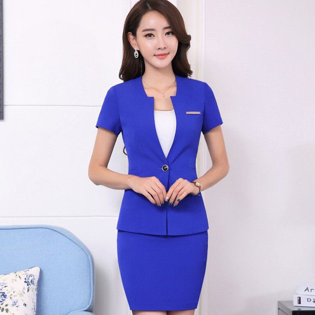 Summer slim work wear women's skirt suit set OL fashion formal short sleeve blazer with skirt office ladies plus size suits