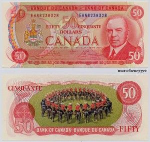 Mounties on the old Canadian 50 dollar bill