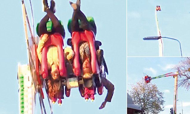 Fairground thrill-seekers left hanging upside-down 200 feet in the air