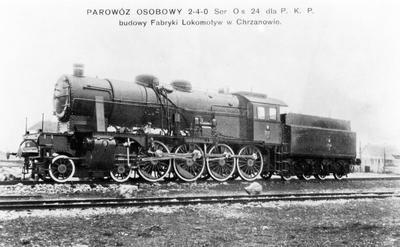 Parowóz osobowy serii Os 24 o układzie osi 2-4-0 (2'D) wykonany w Fabryce Lokomotyw w Chrzanowie 1925-1927
