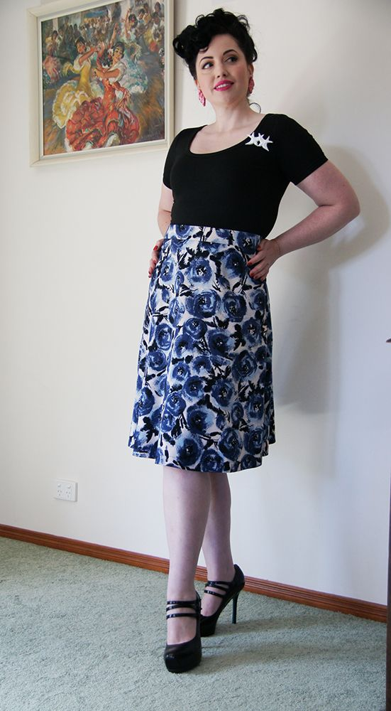 Floral A-line skirt and 'Gabrielle' top. Model: Candice DeVille