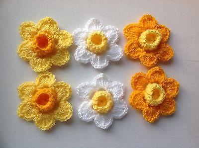 6xNew Crochet Spring Flowers Applique Embellishment -Daffodils(yellow/White)