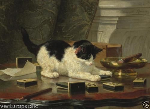 Cat-Playing-with-Dominoes-Henriette-Ronner-Knip-c1890-Fine-Giclee-Print