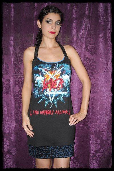 Slayer Unholy Alliance Metal Thrash Mini Dress Halter S M L XL