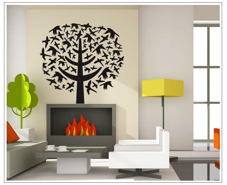 Wall-By-Wall | Designboom muursticker met vogels. Verrijk u interieur met deze strakke design muursticker. Een boom met vogels, ideaal in de woonkamer!