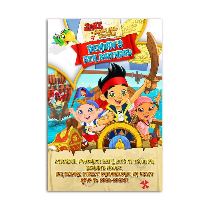 Jake and The Neverland Pirates Kids Birthday Invitation Party Design