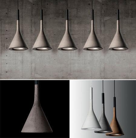 The Aplomb Suspension Lamp by Foscarini is made of concrete; $774 each from Y LightingConcrete Lights, Trav'Lin Lights, Indoor Lights, Modern Lights, Aplomb Lights, Interiors Lights