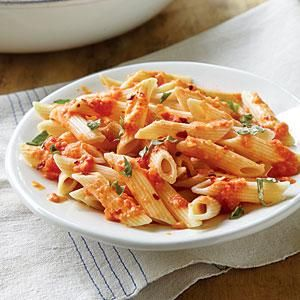 Sub Veggie Broth and Potentially Try Coconut Cream instead of Whipping Cream - Pasta with Vodka Cream Sauce | MyRecipes.com