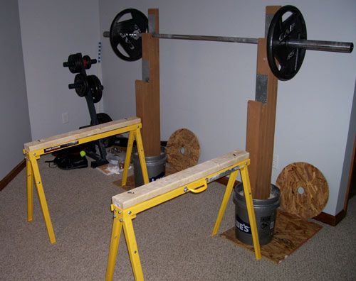 Diy strength saw horse safety stands run bike lift eat for Diy squat stands