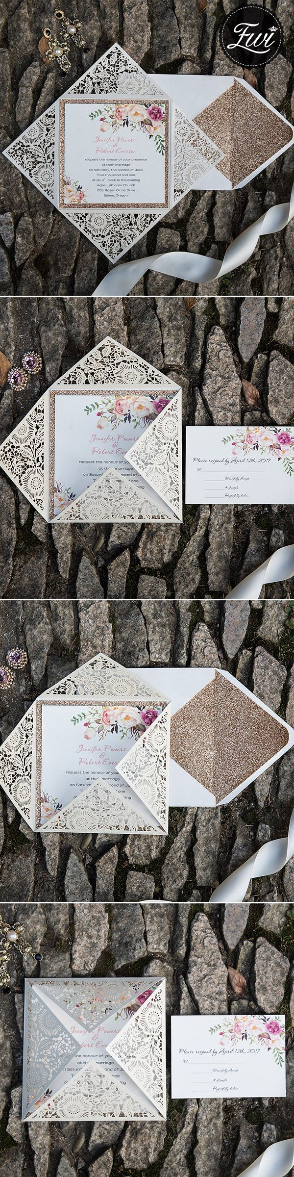 bohemian rustic spring flower glittery rose gold laser cut invitations EWWS085#rosegold#invitations#weddings#lasercur#2018trends