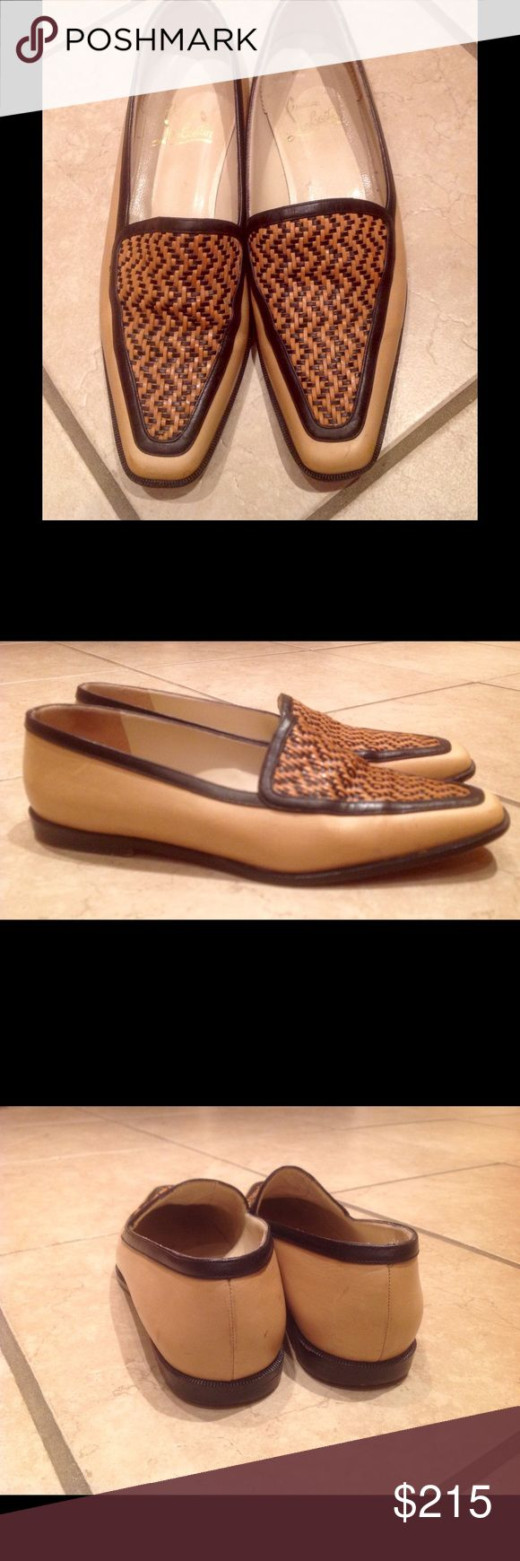 Christian Louboutin beige and black loafers shoes Used original Christian Loboutin shoes are forever! ❤️ them for comfort, quality and beauty. These shoes have some signs of wear but overall in good condition. ❤️ Very little scratches (fixable) mostly on the back.☘Priced to sell!!!! ❤️ 😊💐 Christian Louboutin Shoes Flats & Loafers