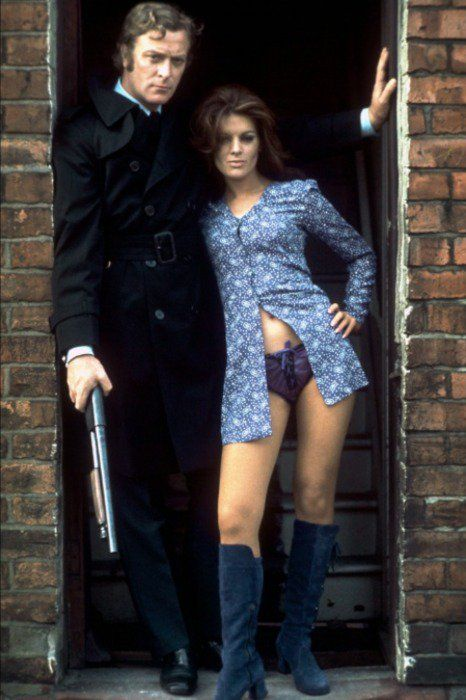 Michael Caine and Geraldine Moffatt on the set of Get Carter, 1971
