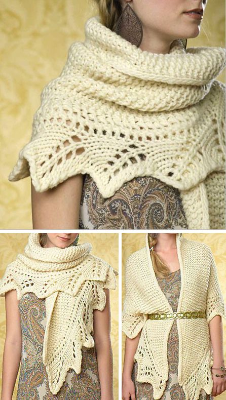 Knitting Pattern for Grand Palais Shawl - This wrap is a garter stitch triangle with a decorative lace edging that is knit on to the shawl. Quick knit in super bulky yarn. Rated easy to intermediate by Ravelrers. Designed by Tanis Gray.
