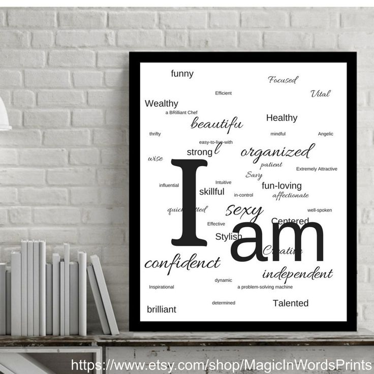 Instant Download, Wall Art, Printable, Affirmation Wall Art, Motivational Wall Art, Modern,White and Black,Minimalist, I am sexy, strong etc by MagicInWordsPrints on Etsy