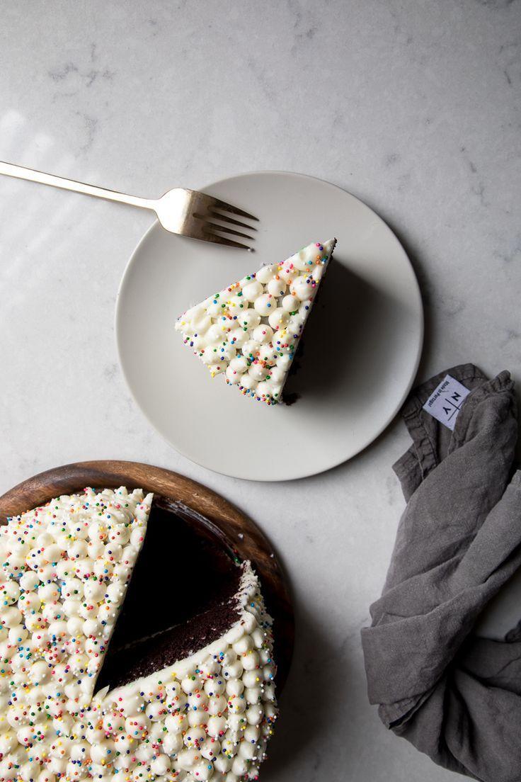 chocolate cake + cream cheese frosting #desserts #chocolatecake