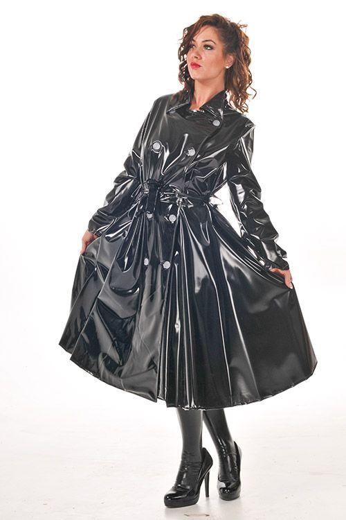 KEMO Cyberfashion Onlineshop für Mode und Regenkleidung aus PVC-PVC Regenmantel mit Kragen