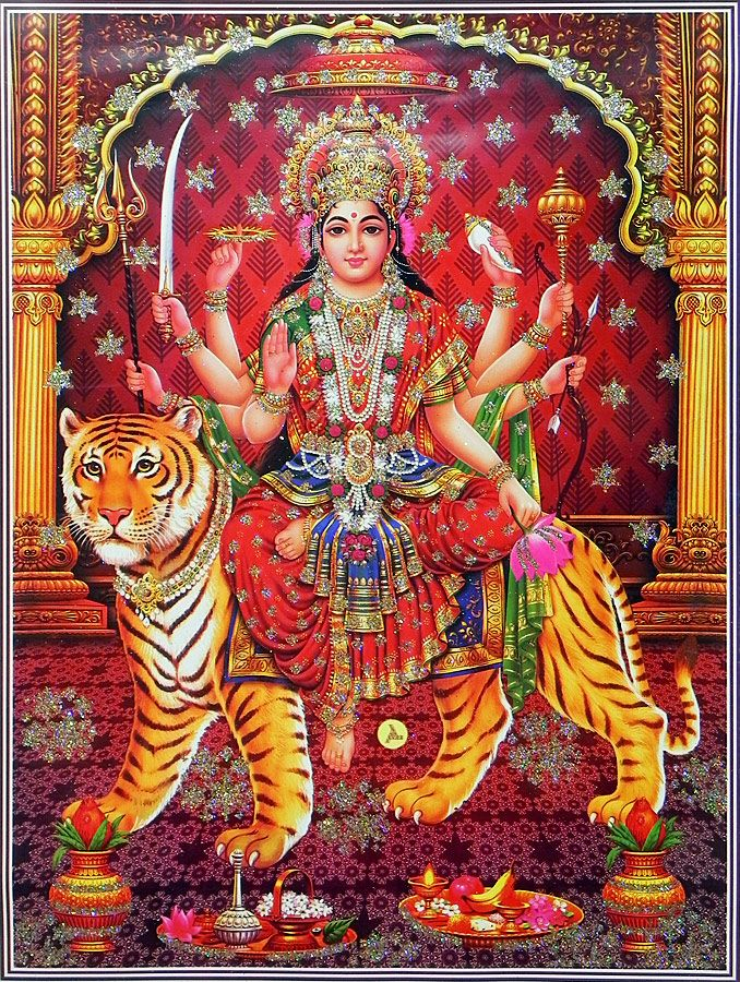 Bhagawati - (Poster with Glitter) (Reprint on Paper - Unframed))