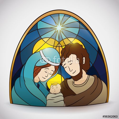 Colorful Holy Family Portrait Stained Glass, Vector Illustration