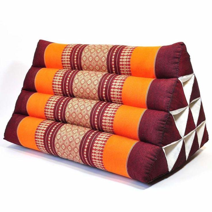 Thai Dreieckskissen Blüten orange 50x35x30cm günstig