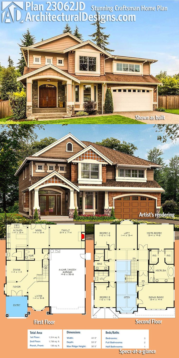 Architectural Designs 3-Bed Craftsman House Plan 23062JD comes to life in Washington (top) and shown as conceived (below).  Move laundry room to main floor and rotate garage