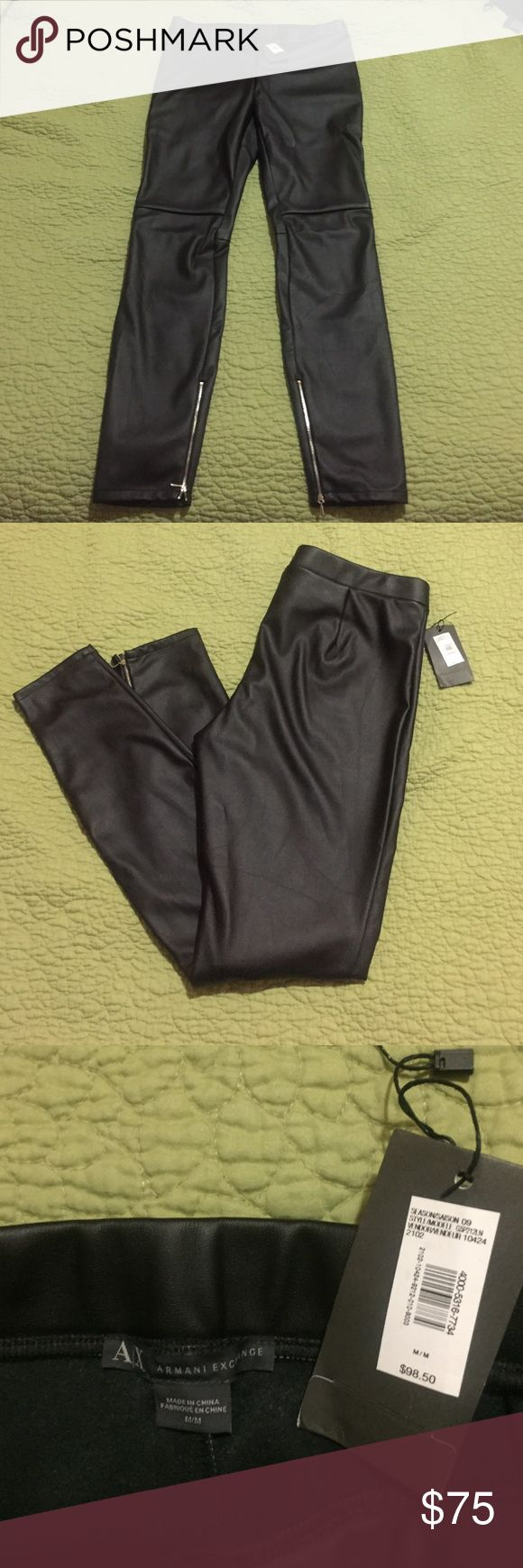 [ ARMANI EXCHANGE ] Black Leather Leggings Black leather material leggings, some stretch, not a lot. Two inner zippers on the bottom of the legs. Comes w. Authenticity card in price tag. Never worn. Make an offer A/X Armani Exchange Pants Leggings