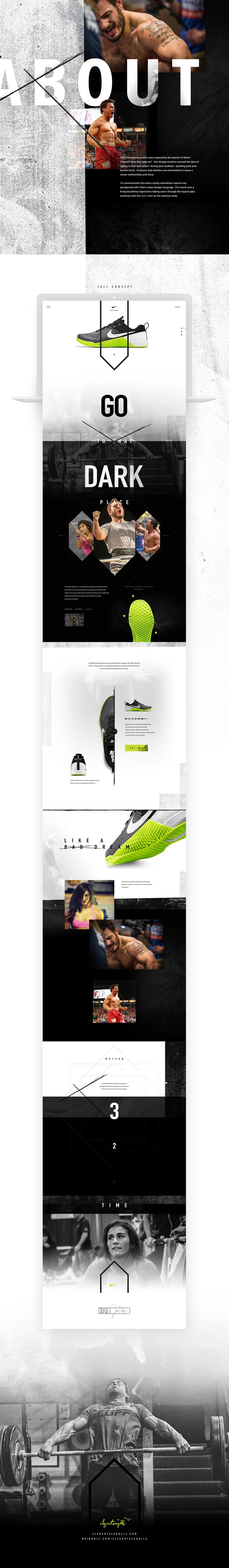 """This conceptual project was inspired by the launch of Nike's CrossFit shoe the """"Metcon"""". The design revolves around the idea of """"going to that dark place"""" during your workout - pushing past your known limits."""